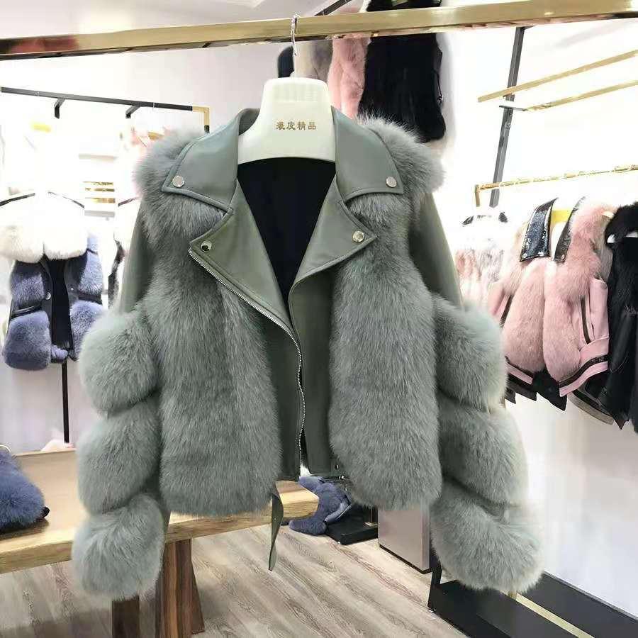 H8180b9748b034777b7d0dffa1e25cb07w Women Faux Fur Coat with Fox Fur Winter Fashion 2021 New Motocycle Style Luxury Fox Fur Leather Jackets Woman Trendy Overcoats