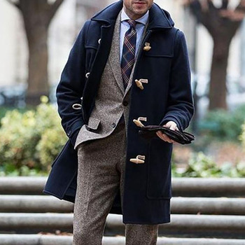 Autumn Winter Men Casual Coat Thin Woolen Trench Business Male Solid Classic Overcoat Medium Long Jackets Tops