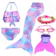 Traje de baño de cola de sirena para niña traje de baño, bañador, Bikini, conjunto de Cosplay, gafas de aleta Monofin, 2019