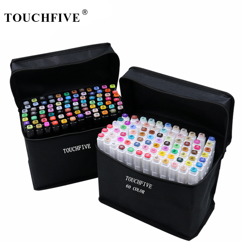 TouchFIVE Art Markers Sets 30/40/60/80/168 Colors Anime Student Design Sketch Manga Alcohol Marker Pen for Drawing(White Pen) image