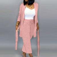 Women Casual Coat Pants 2 Piece Sets Sashes Bandage Full Sleeve Coat With Drawstring Wide Legs Club Outfits Pink Matching Sets