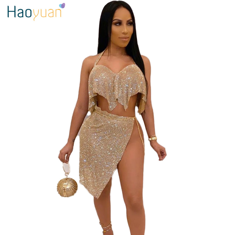 Zooeffbb Sexy Shiny Sequin Two Piece Set Women Festival Clothing