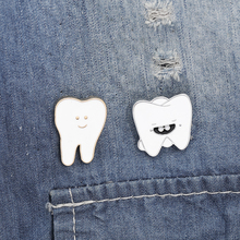 Sweet tooth Funny  Enamel pins Animal lapel pins Tooth Bages  jewelry Brooches for men women