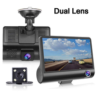 3 In 1 Car DVR Dual Lens 1080P HD Dash Cam Large Screen 4 Inches Auto Front Back Camera 170 Degree Wide Angle Video Recorder New