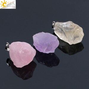 CSJA Natural Gem Stones Clear Crystal Necklaces & Pendants Reiki Healing Irregular White Yellow Purple Pink Quartz Pendulum F070(China)