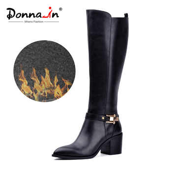 Donna-in knee-high Boots Women Winter Genuine Leather Pointed Toe Thick High heel Metal Boots Zipper Plush Lining Ladies Shoe - DISCOUNT ITEM  50% OFF All Category