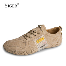 YIGER Men loafers big size Sports peas shoes man Lazy casual lace-up Genuine Leather soft sole male  364