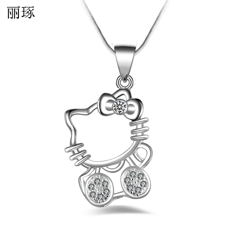 Fashion Silver-plated Kitty Cat Necklace Female Silver Jewelry with Snake Bone Chain February 14 Valentine's Day Gift