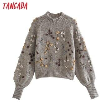 Tangada Women Beading Flowers Turtleneck Sweater Jumper Female Elegant Oversize Pullovers Chic Tops 3L68 1