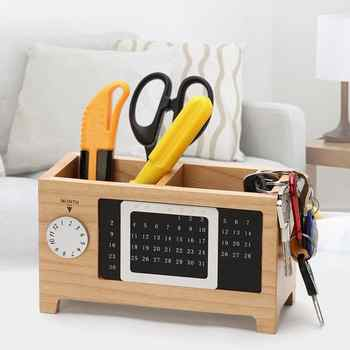 With Calendar Ornaments Desk Organizer Gift Table Practical Container Pen Pencil Holder Two Grids Wooden Storage Box Rectangular - DISCOUNT ITEM  11% OFF All Category