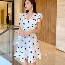 2019 Women V-neck Hollow Out Lace Mini Dress Elegant Sleeveless Ruffles Polka Dot Dress High Waist A-line Dress lace insert high neck a line mini dress