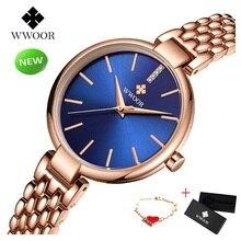 WWOOR Small Women Bracelet Watches Waterproof Dress Quartz Watch Stainless Steel Rose GoldWatch Ladies Wrist reloj mujer