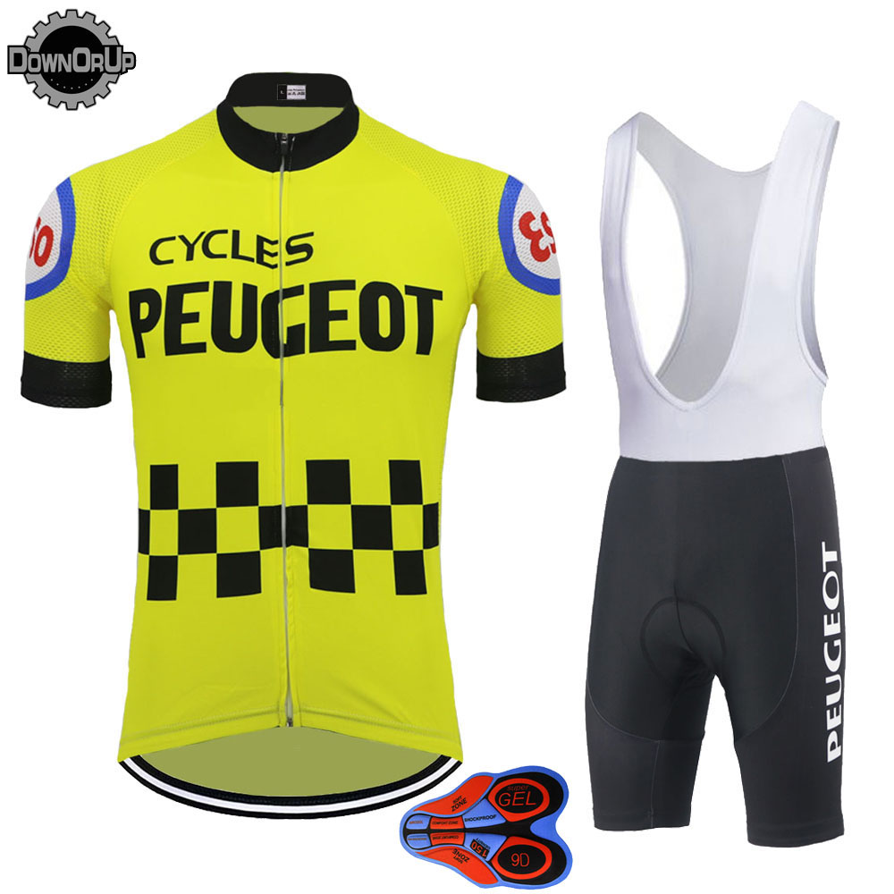 classic Retro men cycling jersey yellow <font><b>bike</b></font> <font><b>wear</b></font> pro team bicycle clothing set 9D gel breathable pad Mtb Maillot ciclismo image