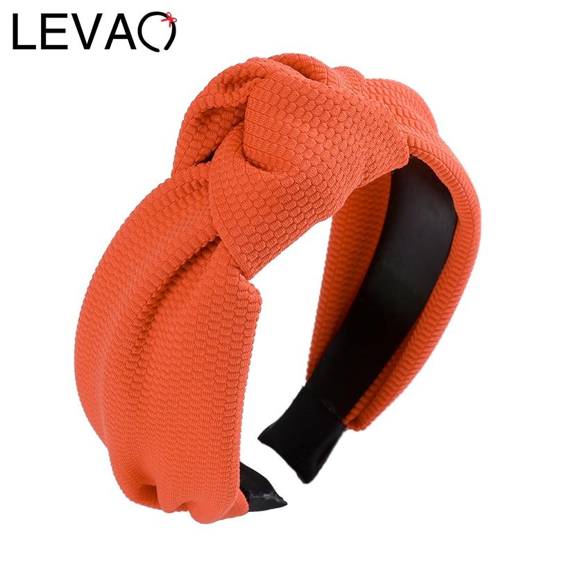 LEVAO Satin Solid Headbands Knotted Wide Size Hairbands New Bezel Turban Elegant Women Girls Hair Accessories Headwear Hair Hoop