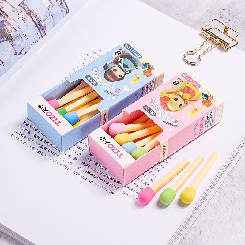 8 Pcs/set Cute Kawaii Matches Shape Pencil Eraser Lovely Colored Erasers For Kids Students Gift School Stationery Supplies