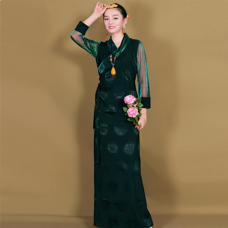 Asia Ethnic Costume Woman Oriental Fashion Summer Long Dress Tibet Clothing Yarn Sleeve Party Gown Retro Cosplay Outfits