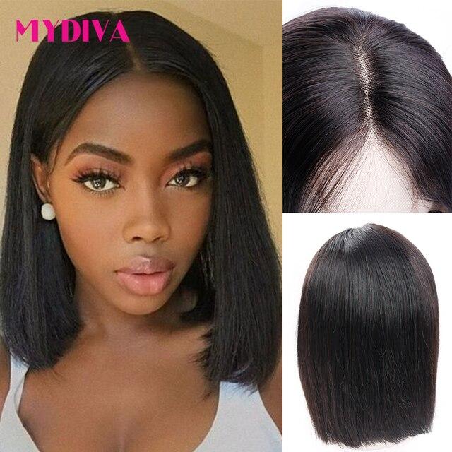 Pelucas de Bob corto lacio brasileño sin pegamento, cabello humano 4x4x1 T, malla con división para mujeres negras, densidad del 150%, peluca Remy de parte media 1