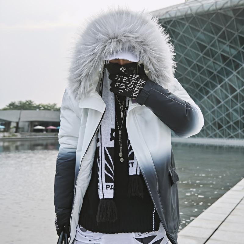 US Size 2019 Winter Warm Gradient Parkas Men Women Streetwear Thick Jackets Coat Fashion Harajuku Hoody Fur Collar Coats DG403