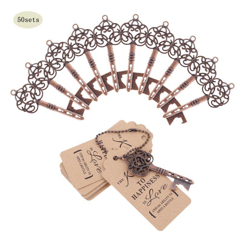 50 juegos de abrebotellas en forma de llave Vintage con etiquetas Tarjeta de boda recuerdos para fiesta regalo dama de honor regalo Detalles de boda para los invitados