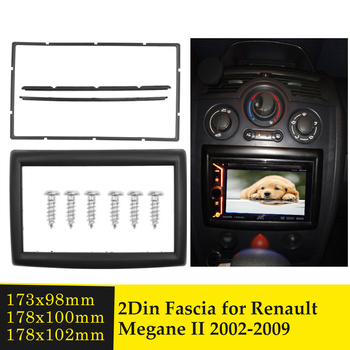 Double Din Fascia for RENAULT Megane II 2002-2009 Stereo Dash Kit Installation Face Panel Dashboard Frame Bezel Car Audio Facia image