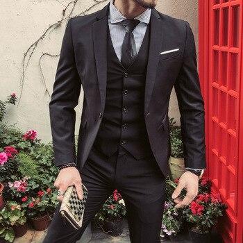 ZOGAA Brand Men 3piece suit Casual fashion British style Suit Jacket vest trousers three-piece Blazer wedding men 3pcs