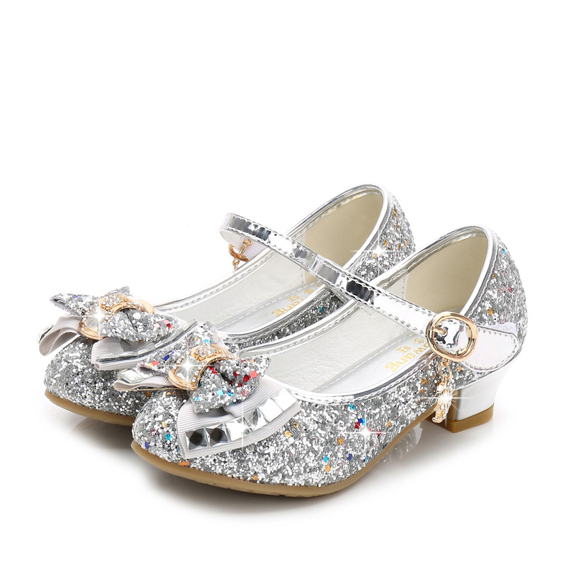 Princess Kids Leather Shoes for Girls Flower Casual Glitter Children High Heel Girls Shoes Butterfly Knot Blue Pink Silver