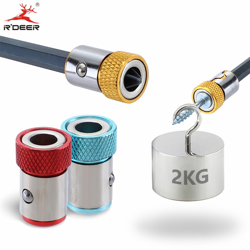 1/4'' 6.35mm Screwdriver Magnetic Ring S2 Alloy Steel Removable Magnet Driver Hex Electric Screwdriver Bit Strong Magnetizer