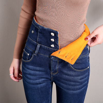 2019 New Winter High Waist Stretch Female Stretch Plus Size Mom Jeans Boyfriend Jeans For Women Warm Pencil Skinny Jeans Women