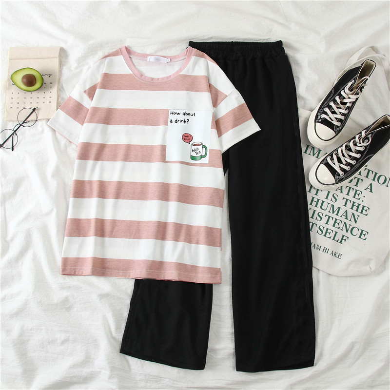 Summer Women Striped T-shirt Set 2020 New Fashion Casual Two-piece Set Female Student Korean Wide Leg Pants Short Sleeve Suit