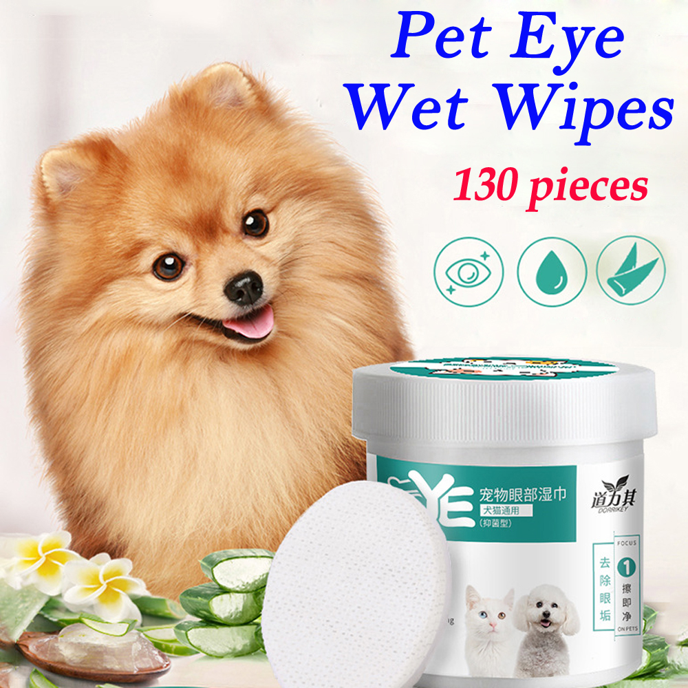 130Pcs Pet Eye Ear Wet Wipes Dog Cat Grooming Tear Removal Stain Cleaning Wet Towels US