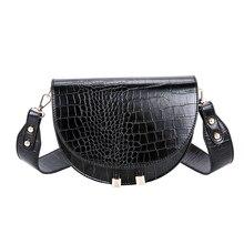 Luxury Crocodile Pattern Crossbody Bags for Women Half Round Messenger