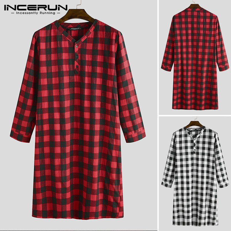 INCERUN Long Sleeve Plaid Men's Sleep Robes Soft Loose V Neck Button Long Pajamas Homewear Leisure Men Nightgown Bathrobes S-5XL