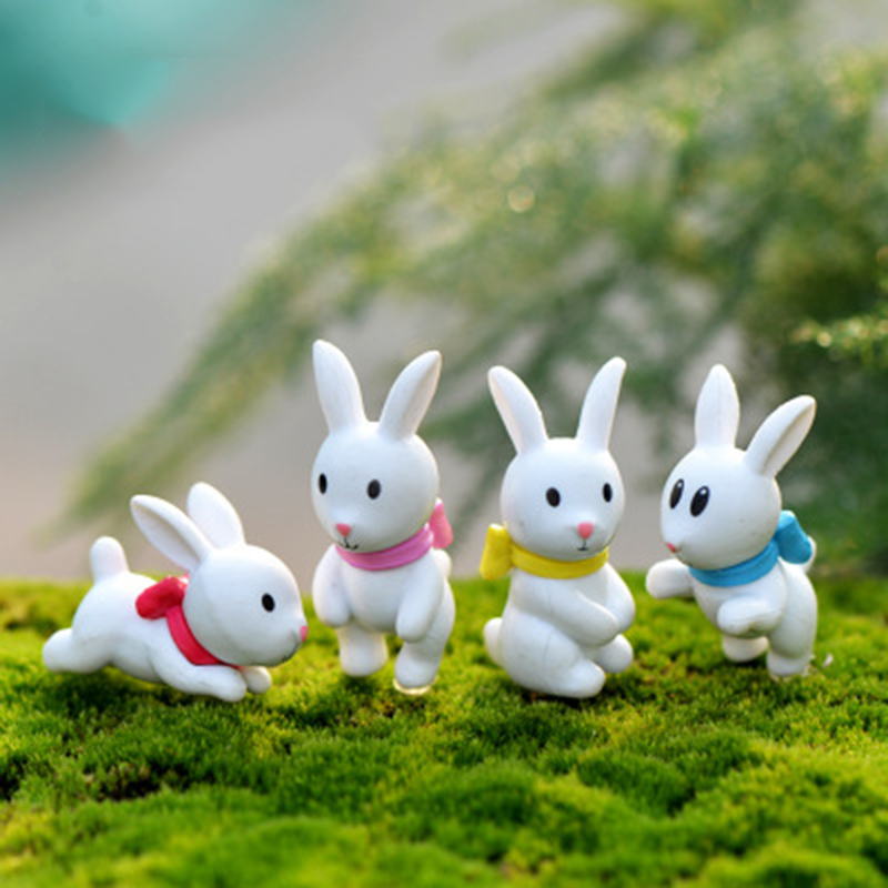 Lovely White Pink Rabbit Hare Coney Lapin Grassland Prairie China Small Statue Figurine Crafts Ornament DIY Miniatures