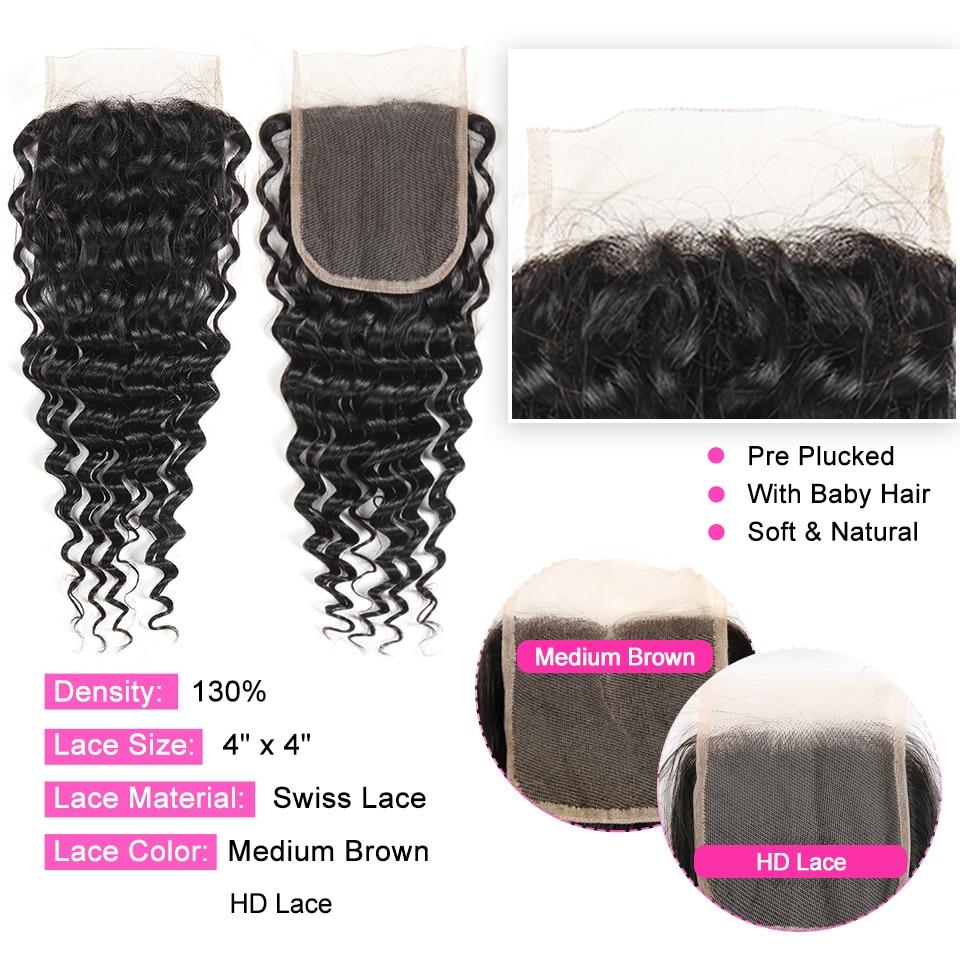 H8182e42b306d4c8aac62c02669b70544t ALI ANNABELLE HAIR Human Hair Bundles With Closure Remy Hair 3 Bundles Brazilian Deep Wave Human Hair with HD Lace Closure