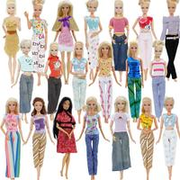 Random 50 Outfits Lot Pants Trousers Blouses Skirt Daily Casual Doll Clothes for Barbie Doll House Accessories Birthday Toy Set