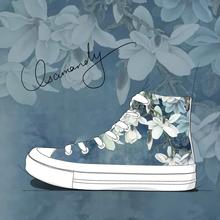 2020 Sping Fashion Chinese Style Flower Pattern High Top Sneakers Women Hand Painted Shoes