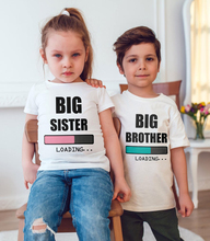Big Sister/brother Loading Funny Kids Girls Boys Announcement Mommy Pregnant T Shirt Fashion Toddler Casual Short Sleeve Tees