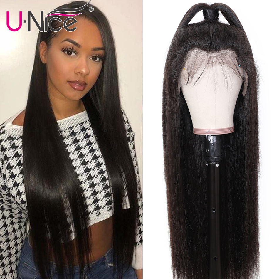 Unice Wig Human-Hair-Wigs Lace-Front Straight Women Brazilian Black for 10-26-Remy 13--6