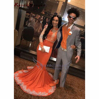 2019 Newest Orange Prom Dresses Long Sleeve Lace Applique Mermaid Evening Dress For Women's Party Gown With Sweep Train
