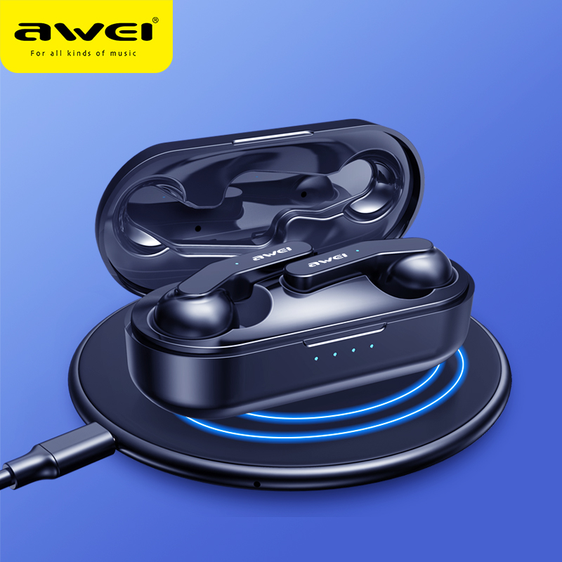 AWEI Newest TWS Mini Bluetooth V5.0 True Wireless Earbuds With Mic HiFi Stereo Earphone Sport Headset Touch Control Support Wireless Charging Quality Sound For iPhone 11 Xiaomi Huawei Phone
