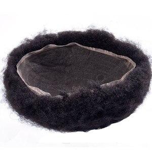Мужские парик Полный кружева афро кудрявые Сменные волосы системы ручной работы шиньоны индийские человеческие волосы Remy