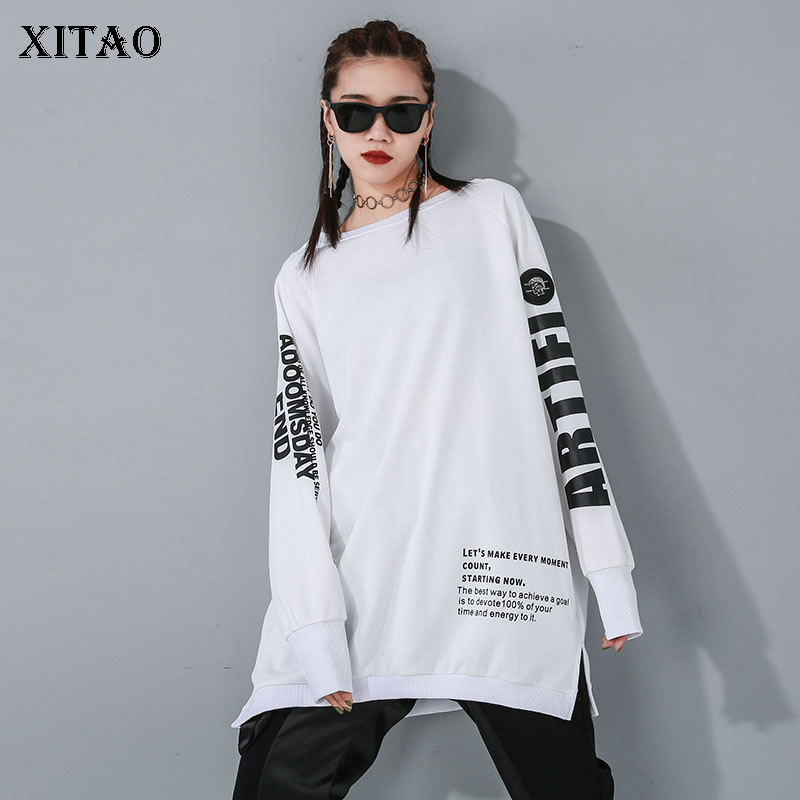 XITAO Letter Pattern Sweatshirt Fashion New Women 2020 Spring Elegant Small Fresh Letter Pullover Goddess Fan Sweatshirt DMY2850