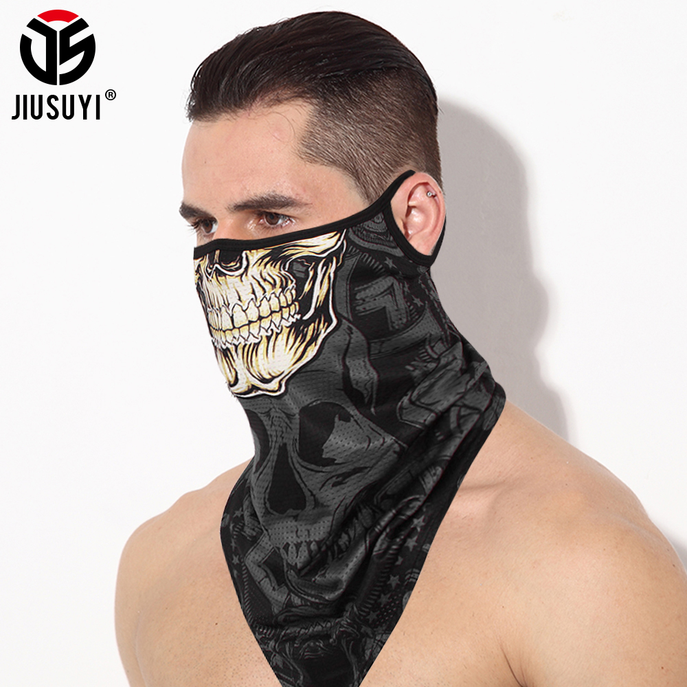 Triangle Skull Bandana Half Face Breathable Scarves Sunscren Windproof Neck Cover Gaiter Tube Scarf Ice Silk Headband Men Women