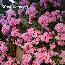Xuanxiaotong 100cm White Silk Crape Myrtle Flowers Artificial for Home Background Wall Decor 3 Stems Encryption Hydrangea Flower