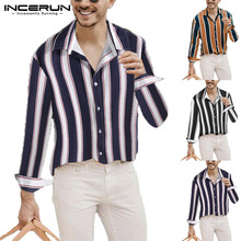 INCERUN Fashion Shirt Men Long Sleeve Striped Casual Tops Lapel Neck Button Streetwear Korean Style Chic Business 2019