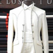 Man Suits Tuxedos Lapel Three-Button Groomsman White New 221 Shawl Bow-Tie Beautiful