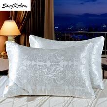 Songkaum 100% almofada de seda de amoreira alta qualidade jacquard travesseiros criança adulto ortopédico pescoço travesseiro com cobertura de algodão