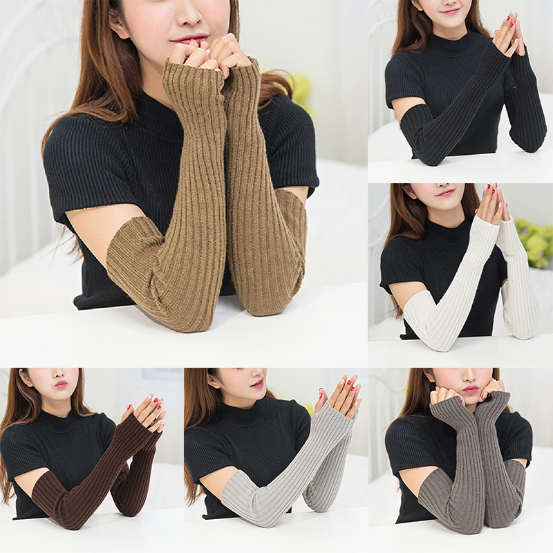 Winter Warm Women Knitted Woolen Arm Sleeves Fingerless Gloves Ladies Casual Solid Color Long Knitted Fingerless Gloves