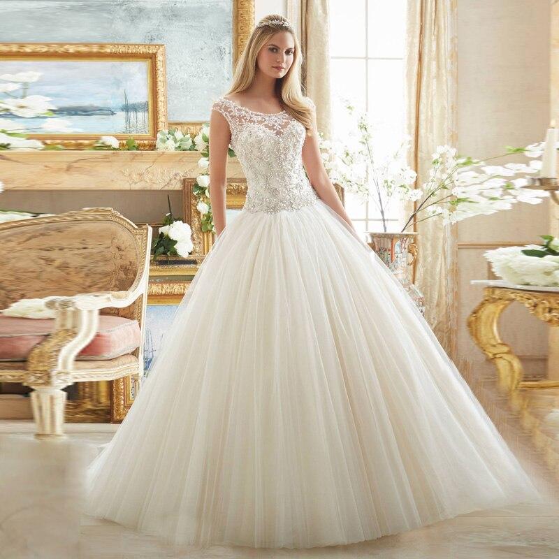 2018 Scoop Neck Romantic Beaded Pearls Lace Casamento Robe De Mariage Vestidos De Noiva Bridal Gown Mother Of The Bride Dresses