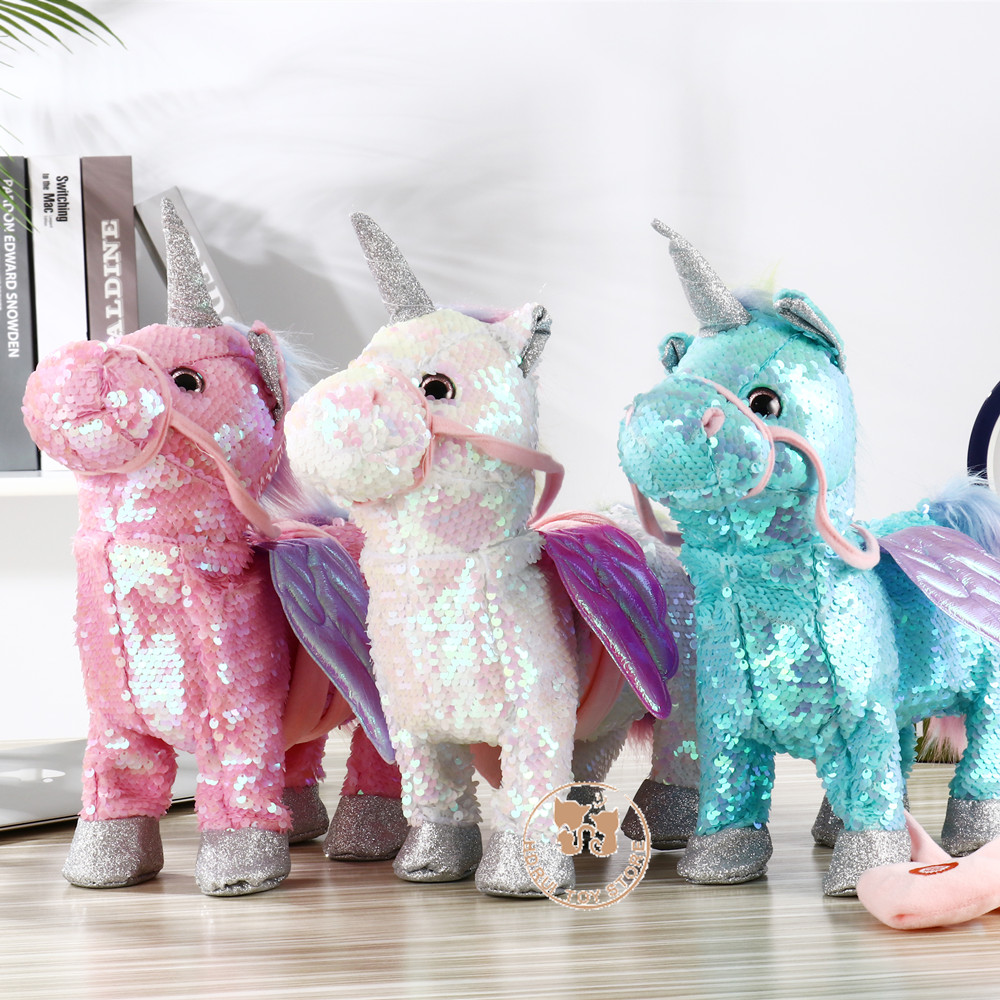 2019 Newest Cute Sequin Unicorn Electric Walking Unicorn Plush Toys Stuffed Animal Toy Electronic Music Unicorn Toy For Kid Gift